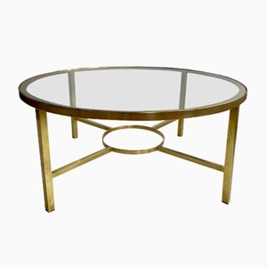 Vintage Brass Round Coffee Table, 1970s