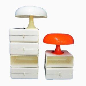 Lámparas de mesa Mid-Century en blanco y naranja de Giancarlo Mattioli para Artemide. Juego de 2