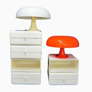 Mid-Century White and Orange Table Lamps by Giancarlo Mattioli for Artemide, Set of 2