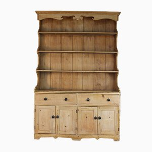 Large Antique Rustic Pinewood Kitchen Dresser