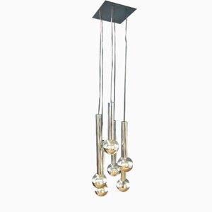 Lámpara colgante en cascada Mid-Century de cromo y vidrio de Motoko Ishii para Staff