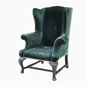 Antique Green Velvet Wing Armchair