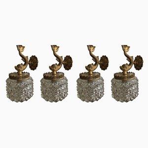 Applique Mid-Century in bronzo e vetro, anni '60, set di 4
