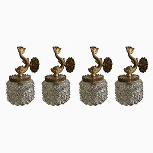 Mid-Century Bronze and Glass Sconces, 1960s, Set of 4