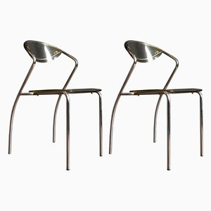 French Lucite and Chrome Stacking Dining Chairs, 1970s, Set of 2