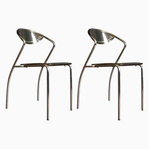 Stapelbare französische Esszimmerstühle aus Plexiglas & Chrom, 1970er, 2er Set