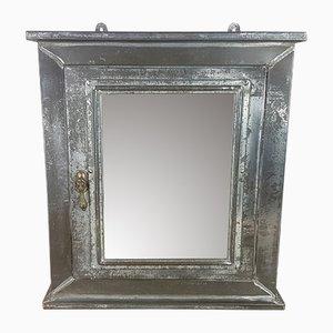 Armadietto per medicinali industriale vintage in acciaio e vetro