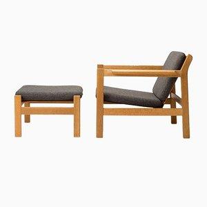 Dänisches Modell 227 & 228 Sessel & Fußhocker Set von Børge Mogensen, 1960er