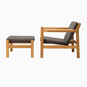 Danish Model 227 & 228 Armchair and Footstool Set from Børge Mogensen, 1960s