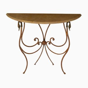 Italian Cream Marble & Wrought Iron Console by Cupioli