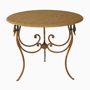 Italian Marble & Wrought Iron Side Table by Cupioli