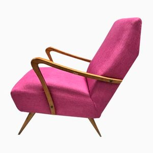 Italian Fuchsia Lounge Chair, 1960s