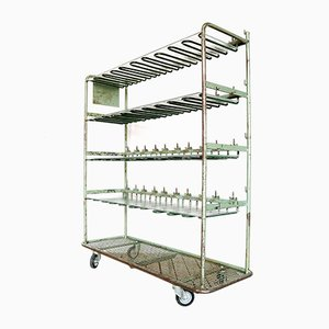 Vintage Industrial Metal and Glass Shelf