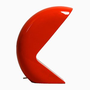 Space Age Italian Red Ceramic Table Lamp, 1960s