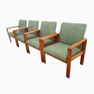Dänische Esszimmerstühle mit Gestell aus Teak & grünem Stoffbezug von Andersen Møbelfabrik, 1960er, 4er Set