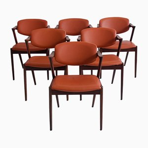 Model 42 Rosewood and Brown Leather Dining Chairs by Kai Kristiansen for Schou Andersen, 1960s, Set of 6