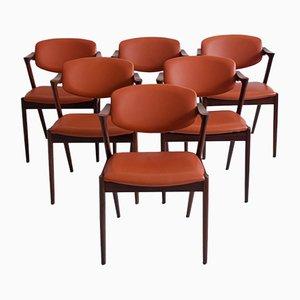 Sillas de comedor modelo 42 de palisandro y cuero marrón de Kai Kristiansen para Schou Andersen, años 60. Juego de 6