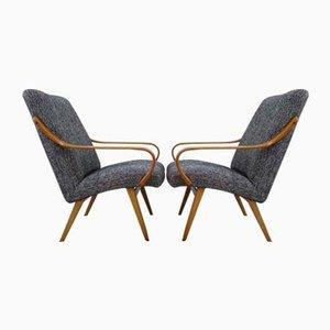 Schwarz-weiße Sessel von Jaroslav Smidek für Ton, 1960er, 2er Set
