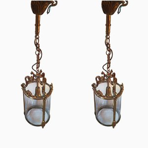 Bronze and Glass Hall Lanterns, 1960s, Set of 2