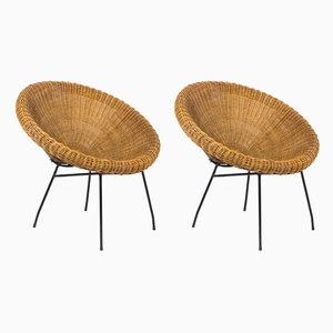 Rattan and Black Metal Sun Chairs, 1950s, Set of 2
