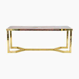Italian Gilt Brass and Pink Granite Dining Table by Cittone Oggi ou Nucci Valsecchi, 1970s