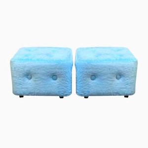 Blue Plush Ottomans, 1970s, Set of 2