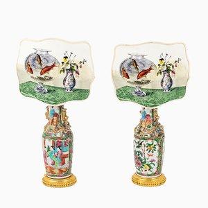 Lámparas de mesa antiguas de porcelana, década de 1880. Juego de 2