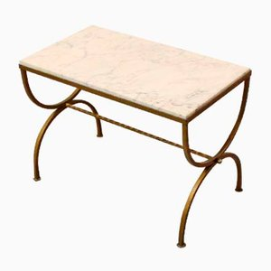 French Marble and Gilded Wrought Iron Side Table, 1940s
