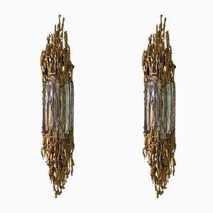 Applique in bronzo dorato di Claude Victor Boeltz, Francia, anni '70, set di 2