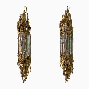 French Gilt Bronze Sconces by Claude Victor Boeltz, 1970s, Set of 2