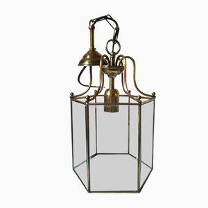 Sechseckige Mid-Century Deckenlampe aus Messing