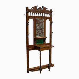 Antique Edwardian English Walnut Coat Rack, 1910s