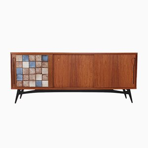 Bubinga and Teak Veneer Buffet, 1950s