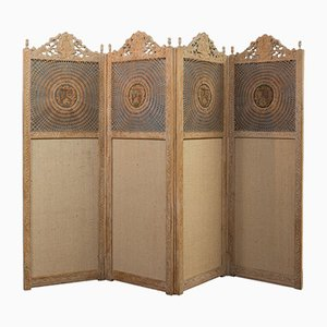 Antique Victorian English Limed Oak and Cane Room Divider