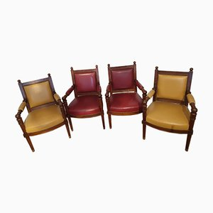 Leather Dining Chairs from Maison Jansen, 1960s, Set of 8