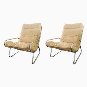 Mid-Century Sessel mit verchromtem Rohrgestell, 1970er, 2er Set