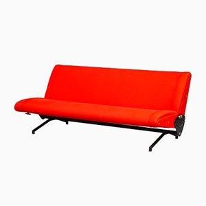 Rotes italienisches Modell D70 Sofa von Osvaldo Borsani für Tecno, 1950er