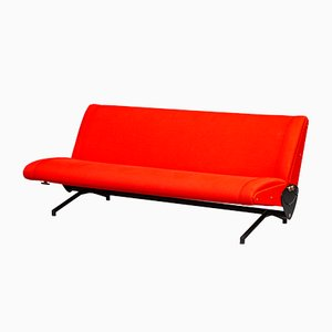 Sofá modelo D70 italiano en rojo de Osvaldo Borsani para Tecno, años 50