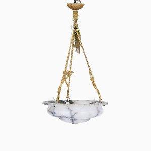 Lámpara de techo Art Déco de alabastro gris, años 30