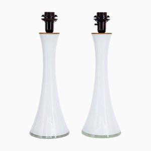 Weiße Tischlampen aus Glas von Berndt Nordstedt für Bergboms, 1960er, 2er Set