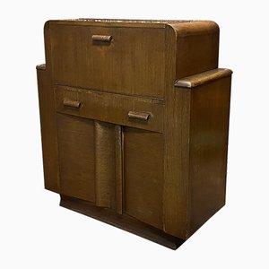 Mueble bar inglés Art Déco de roble, años 30