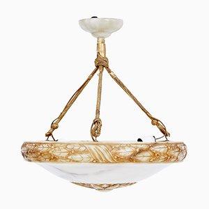 Lámpara de techo Art Déco de alabastro tallado, años 20