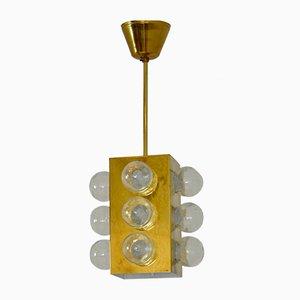 Deckenlampe aus Messing & Glas von Aneta, 1970er