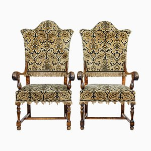Antique Birch Armchairs, Set of 2