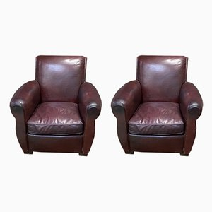 Burgundy Leather Lounge Chairs, 1950s, Set of 2