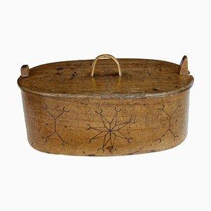 Große antike schwedische Box aus Bugholz