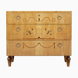Art Deco Inlaid Elm and Birch Dresser, 1940s