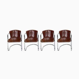 Italienische Esszimmerstühle aus Leder von Willy Rizzo für Cidue, 1970er, 4er Set