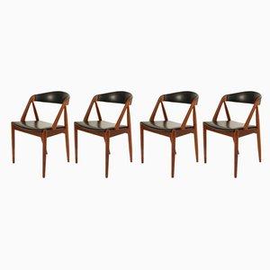 Dänische Modell 31 Esszimmerstühle aus Teak von Kai Kristiansen für Schou Andersen, 1960er, 4er Set
