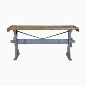 Mesa de trabajo de madera de pino, siglo XIX